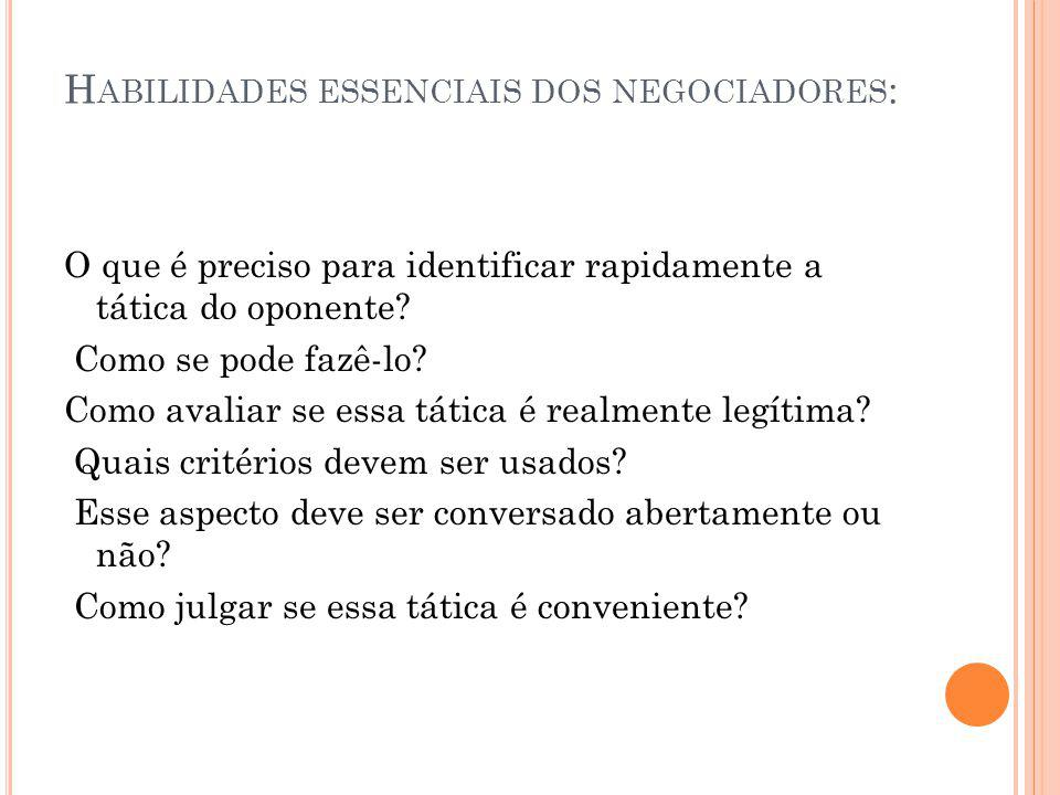 Habilidades essenciais dos negociadores: