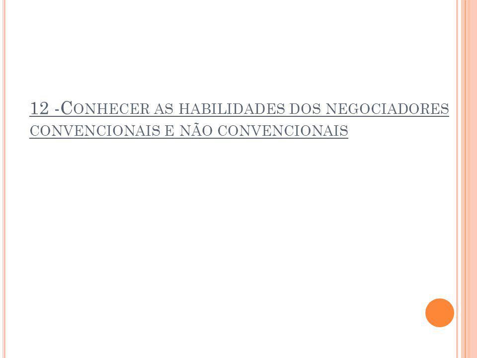 12 -Conhecer as habilidades dos negociadores convencionais e não convencionais