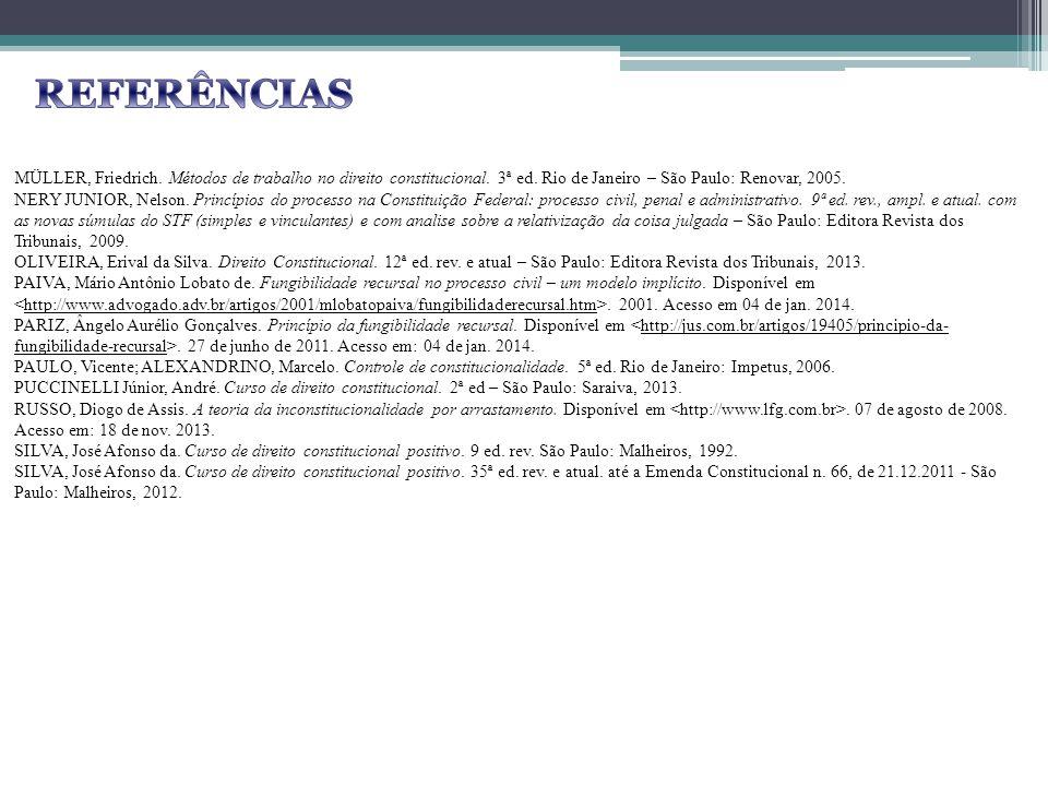 REFERÊNCIAS MÜLLER, Friedrich. Métodos de trabalho no direito constitucional. 3ª ed. Rio de Janeiro – São Paulo: Renovar, 2005.
