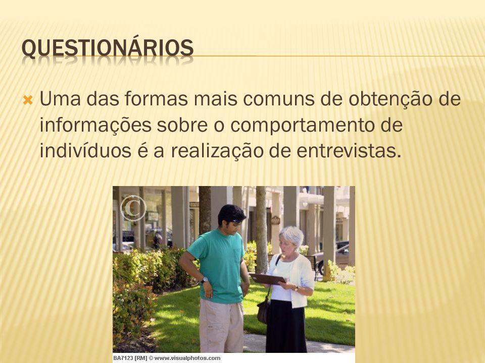 Questionários Uma das formas mais comuns de obtenção de informações sobre o comportamento de indivíduos é a realização de entrevistas.