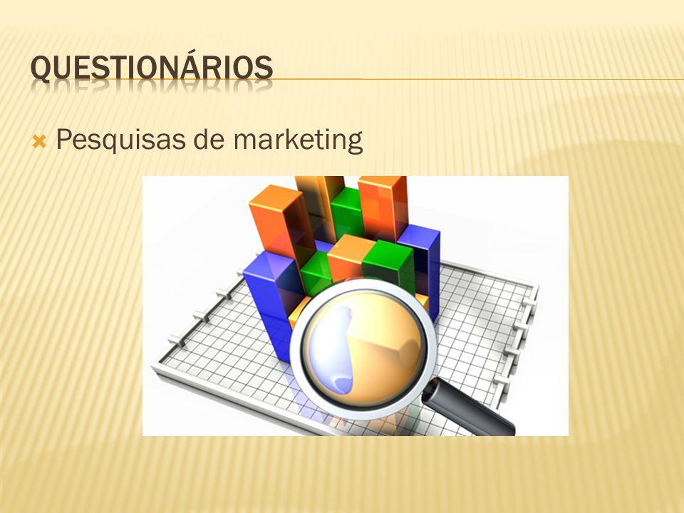 Questionários Pesquisas de marketing