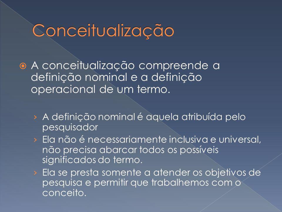 Conceitualização A conceitualização compreende a definição nominal e a definição operacional de um termo.