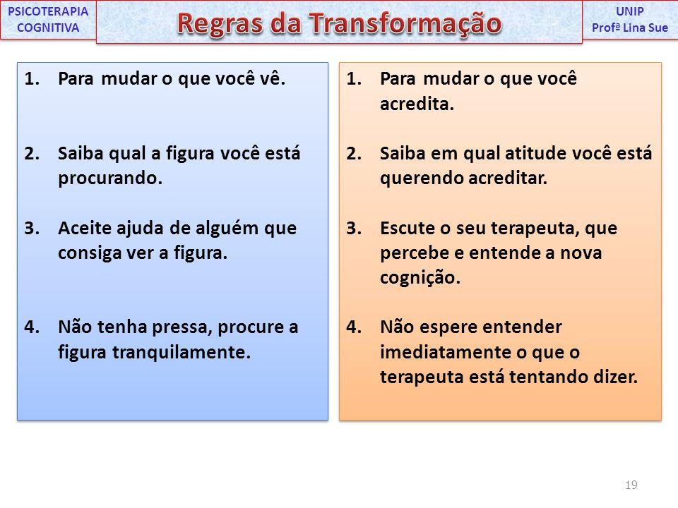 PSICOTERAPIA COGNITIVA Regras da Transformação