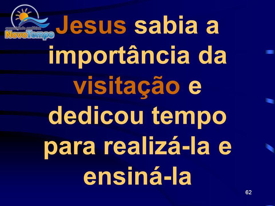 Jesus sabia a importância da visitação e dedicou tempo para realizá-la e ensiná-la
