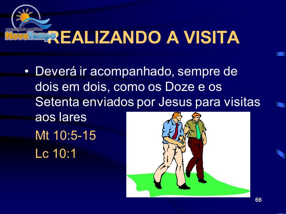 REALIZANDO A VISITA Deverá ir acompanhado, sempre de dois em dois, como os Doze e os Setenta enviados por Jesus para visitas aos lares.