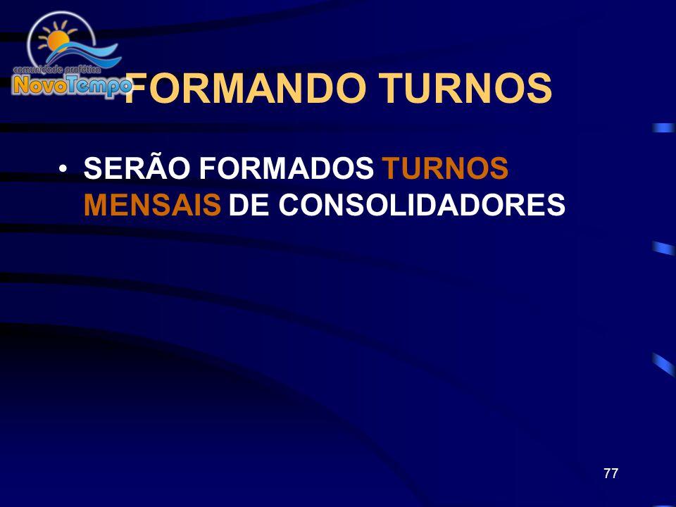 FORMANDO TURNOS SERÃO FORMADOS TURNOS MENSAIS DE CONSOLIDADORES