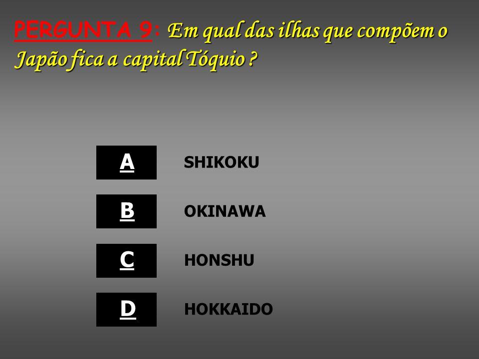 PERGUNTA 9: Em qual das ilhas que compõem o Japão fica a capital Tóquio