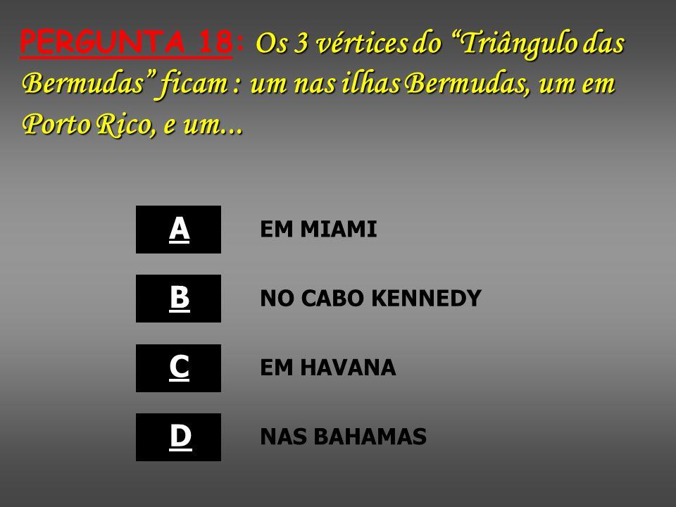 PERGUNTA 18: Os 3 vértices do Triângulo das Bermudas ficam : um nas ilhas Bermudas, um em Porto Rico, e um...