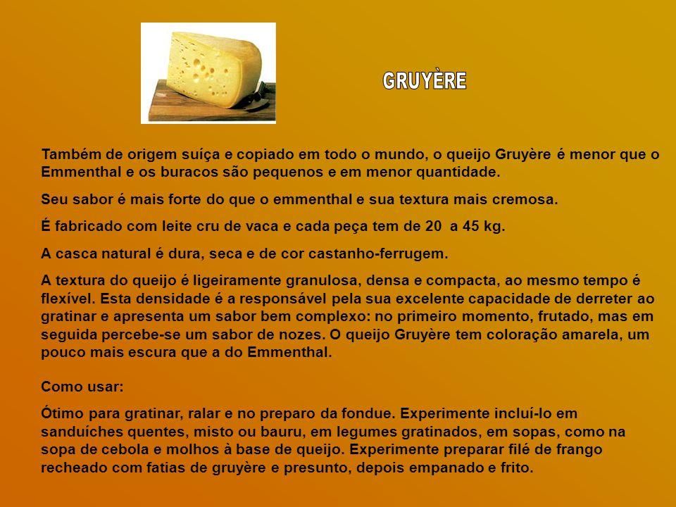 GRUYÈRE Também de origem suíça e copiado em todo o mundo, o queijo Gruyère é menor que o Emmenthal e os buracos são pequenos e em menor quantidade.