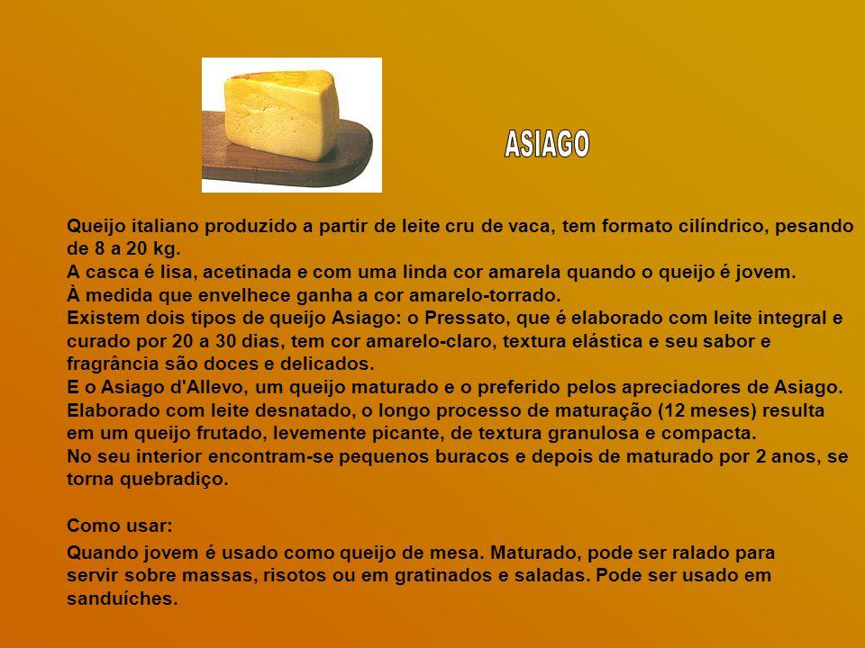 ASIAGO Queijo italiano produzido a partir de leite cru de vaca, tem formato cilíndrico, pesando de 8 a 20 kg.
