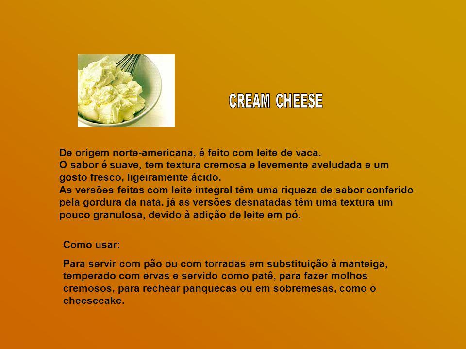 CREAM CHEESE De origem norte-americana, é feito com leite de vaca.