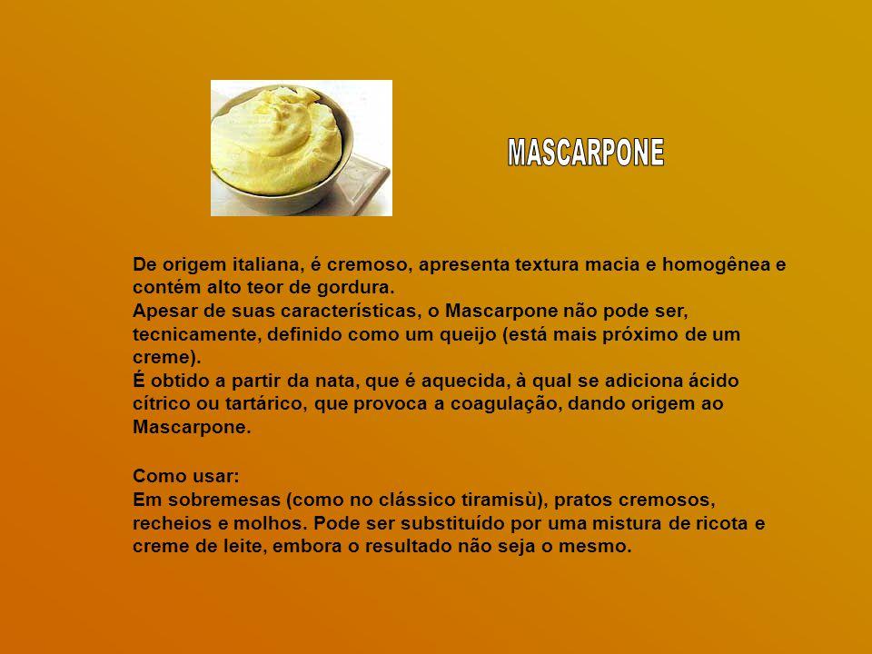 MASCARPONE De origem italiana, é cremoso, apresenta textura macia e homogênea e contém alto teor de gordura.