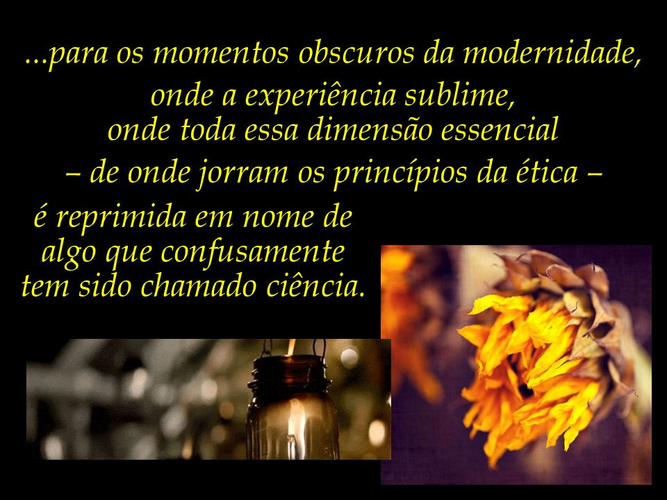 ...para os momentos obscuros da modernidade,