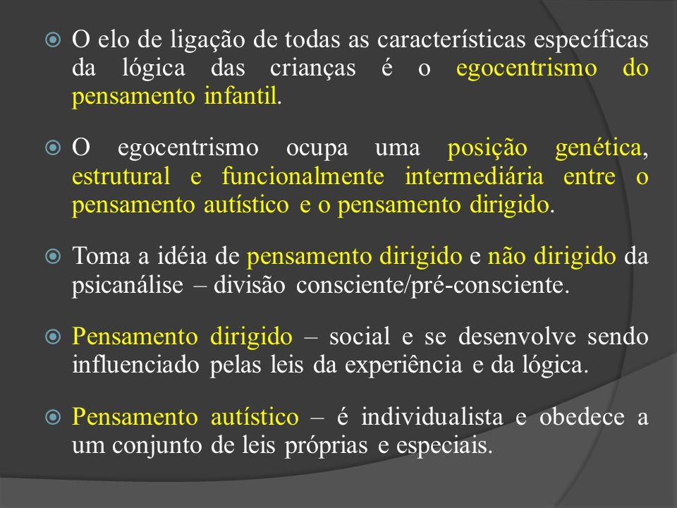 O elo de ligação de todas as características específicas da lógica das crianças é o egocentrismo do pensamento infantil.