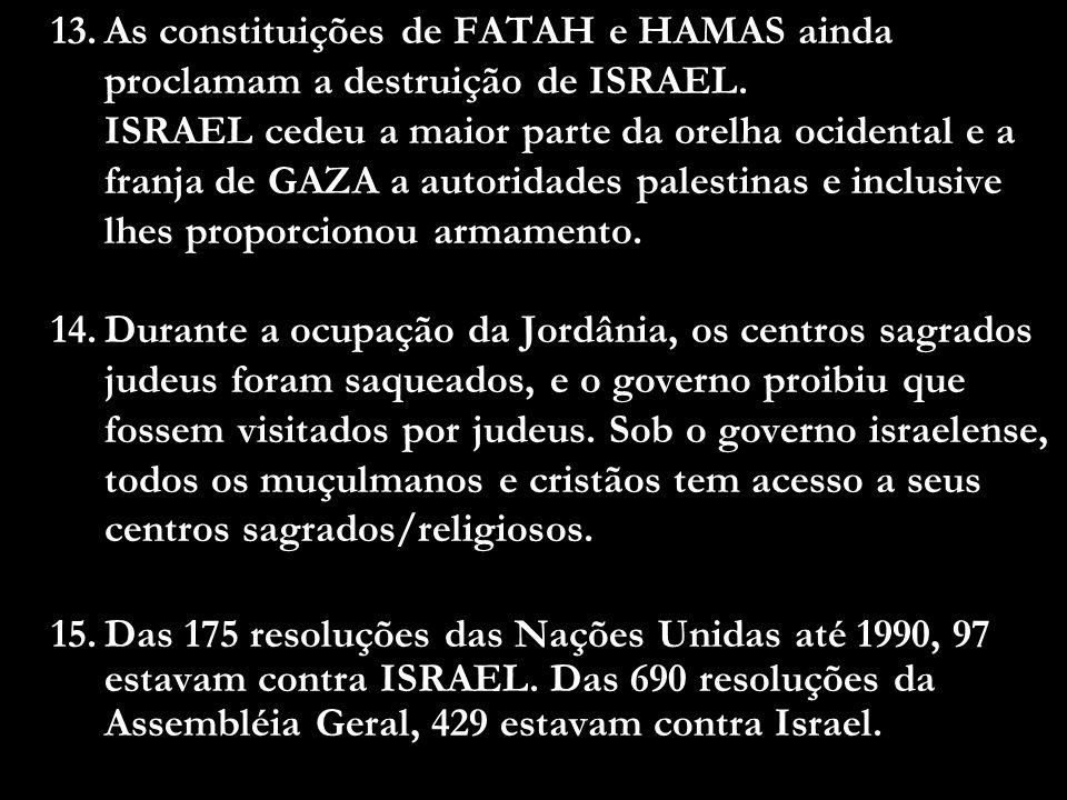 As constituições de FATAH e HAMAS ainda proclamam a destruição de ISRAEL. ISRAEL cedeu a maior parte da orelha ocidental e a franja de GAZA a autoridades palestinas e inclusive lhes proporcionou armamento.