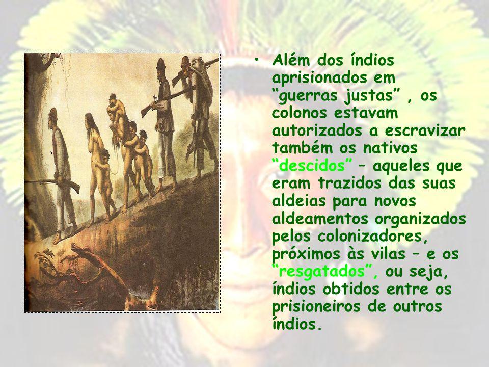 Além dos índios aprisionados em guerras justas , os colonos estavam autorizados a escravizar também os nativos descidos – aqueles que eram trazidos das suas aldeias para novos aldeamentos organizados pelos colonizadores, próximos às vilas – e os resgatados , ou seja, índios obtidos entre os prisioneiros de outros índios.