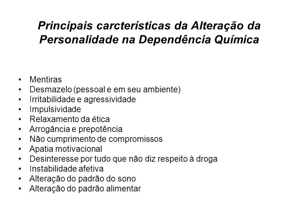Principais carcterísticas da Alteração da Personalidade na Dependência Química