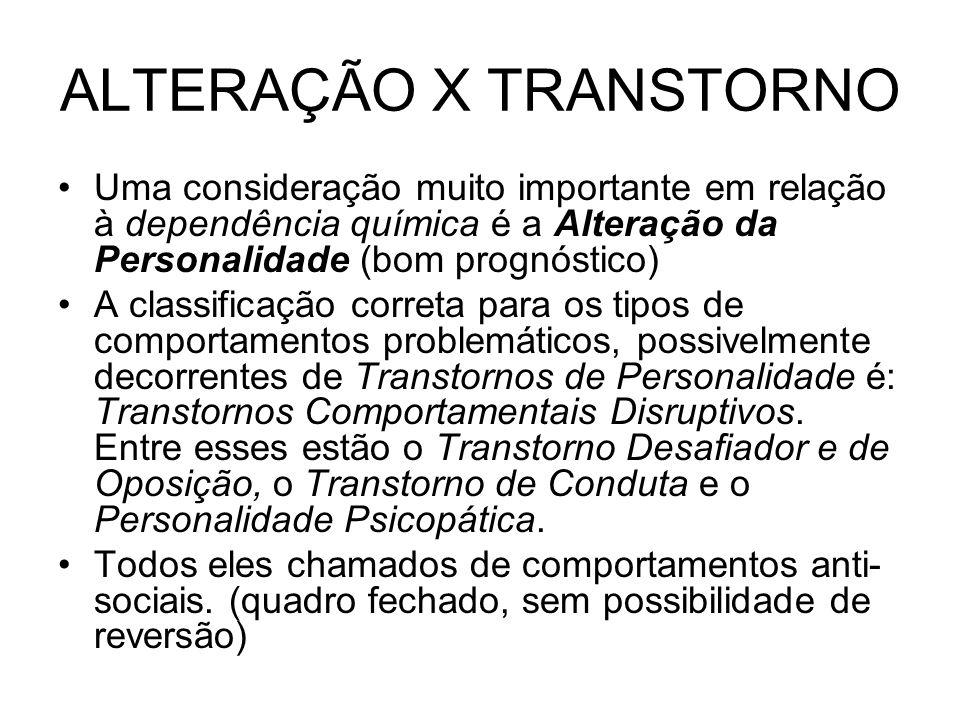 ALTERAÇÃO X TRANSTORNO