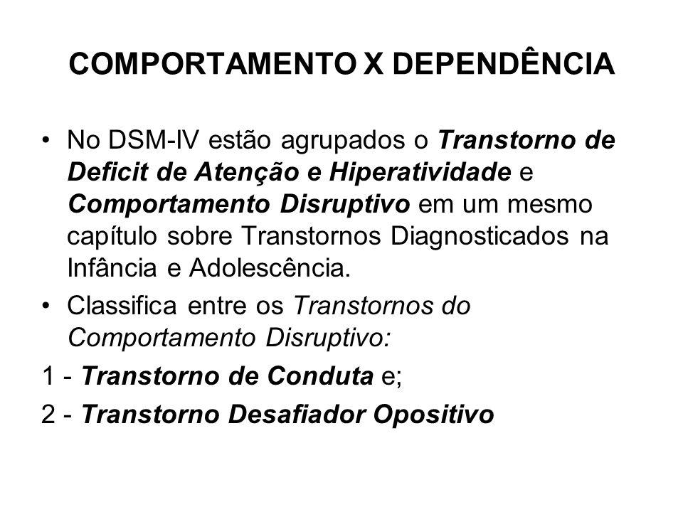 COMPORTAMENTO X DEPENDÊNCIA