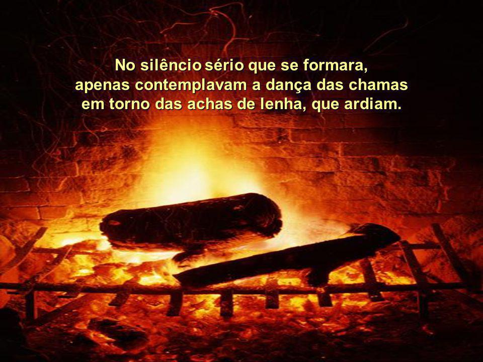 No silêncio sério que se formara, apenas contemplavam a dança das chamas em torno das achas de lenha, que ardiam.