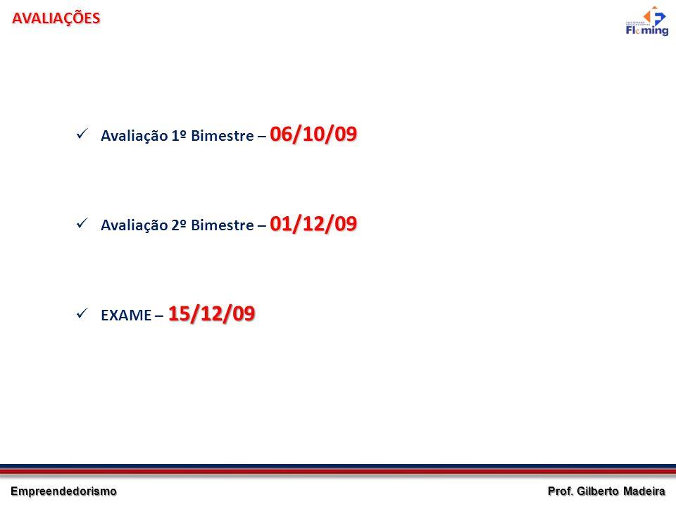 AVALIAÇÕES Avaliação 1º Bimestre – 06/10/09 Avaliação 2º Bimestre – 01/12/09 EXAME – 15/12/09
