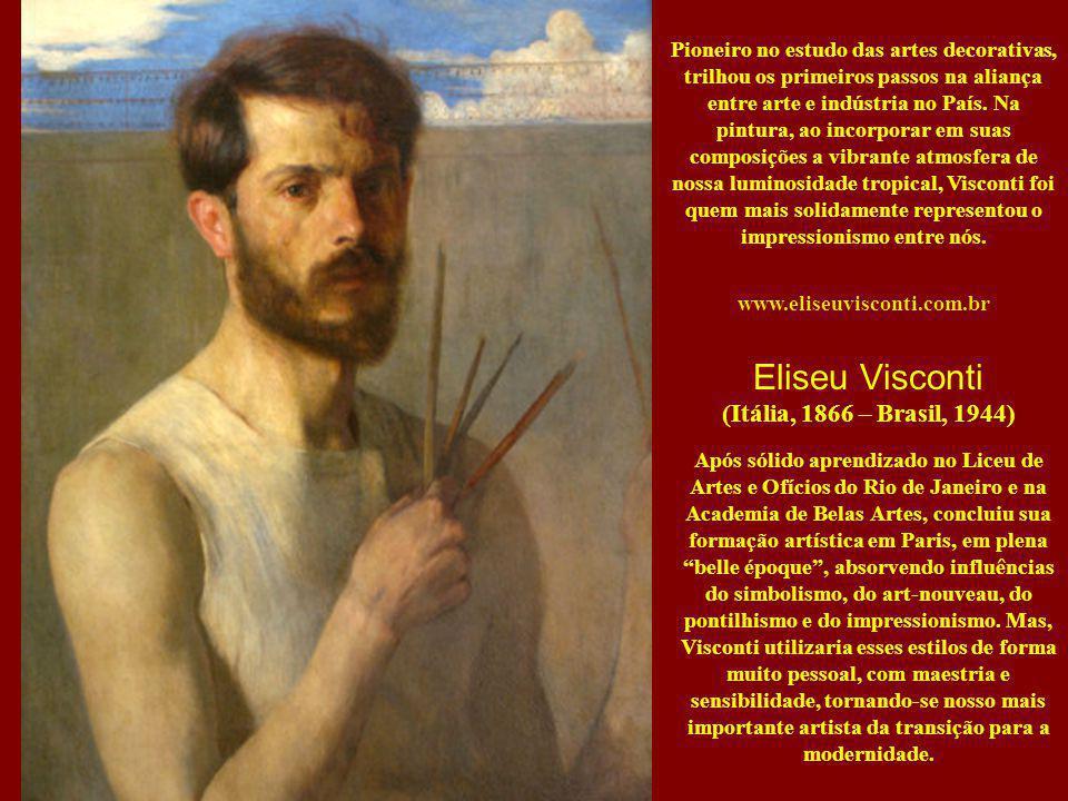 Pioneiro no estudo das artes decorativas, trilhou os primeiros passos na aliança entre arte e indústria no País. Na pintura, ao incorporar em suas composições a vibrante atmosfera de nossa luminosidade tropical, Visconti foi quem mais solidamente representou o impressionismo entre nós.