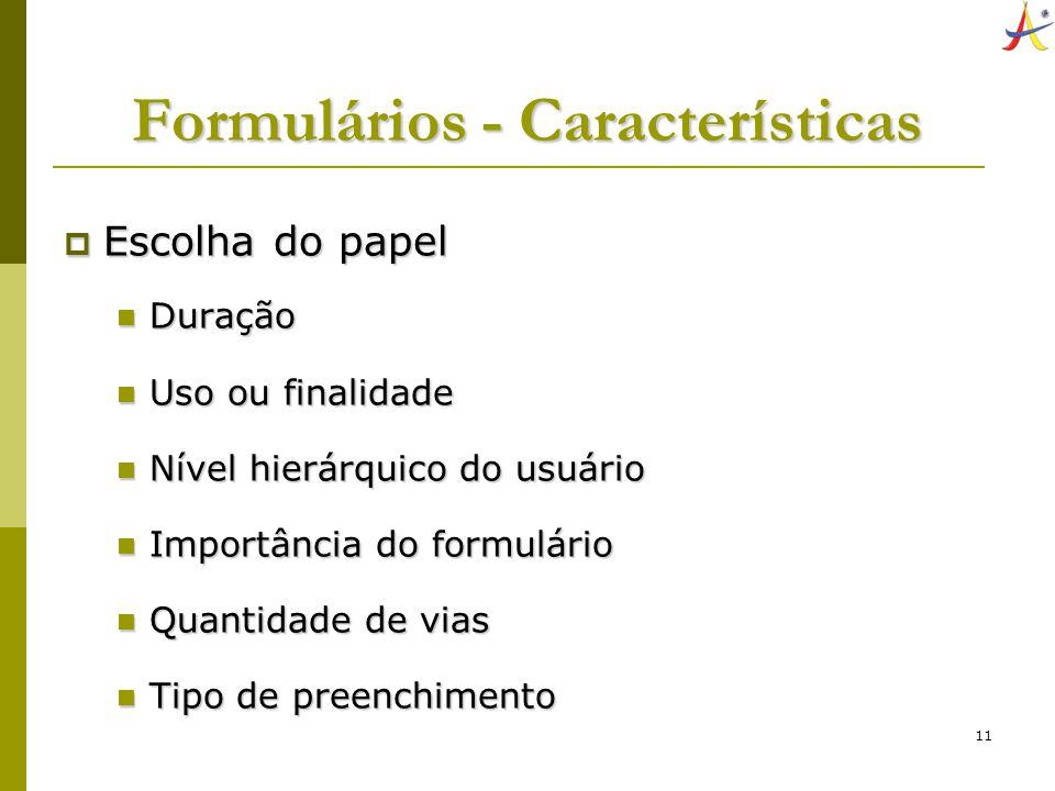 Formulários - Características