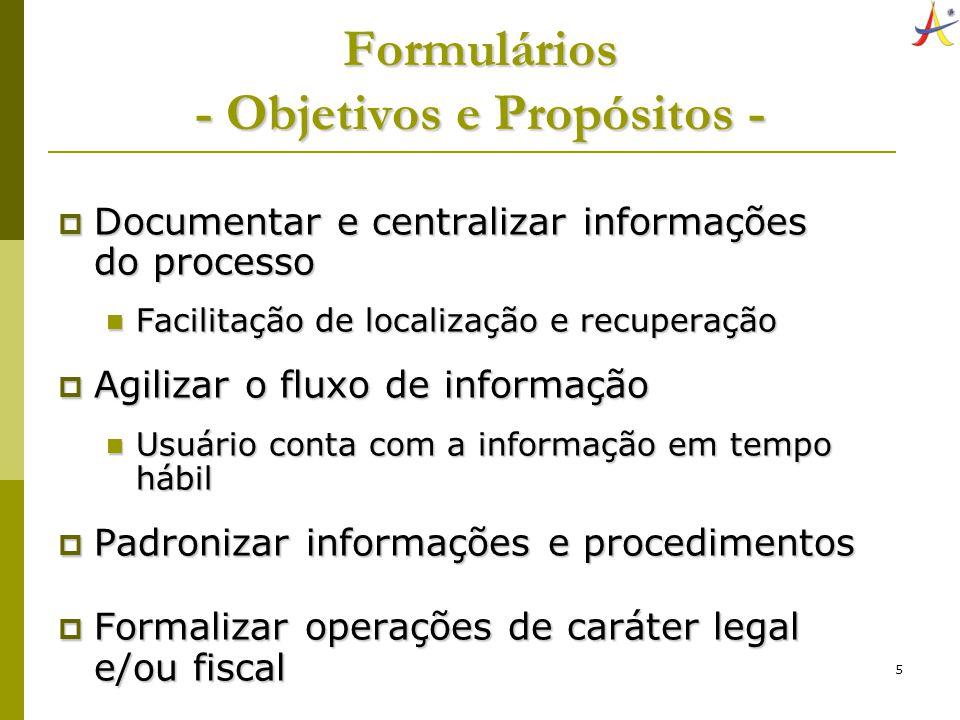 Formulários - Objetivos e Propósitos -