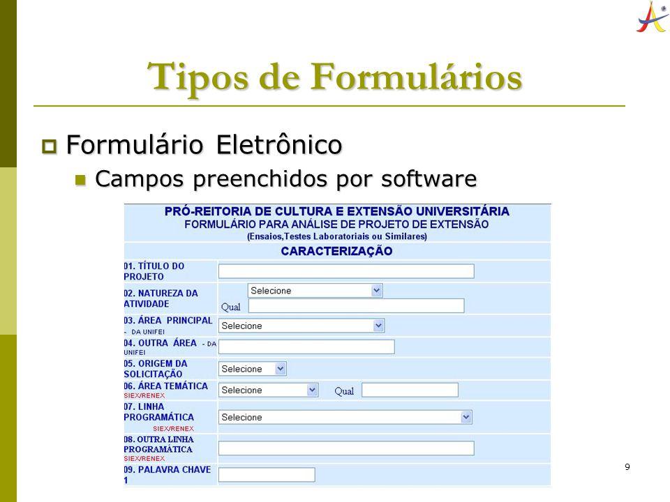 Tipos de Formulários Formulário Eletrônico
