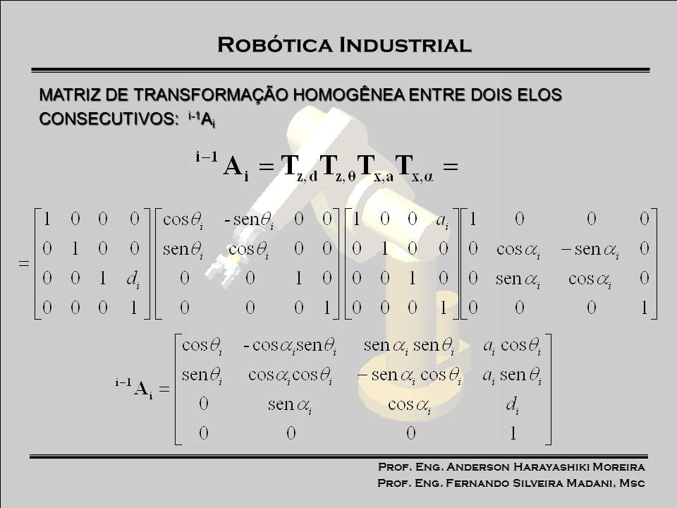 MATRIZ DE TRANSFORMAÇÃO HOMOGÊNEA ENTRE DOIS ELOS CONSECUTIVOS: i-1Ai