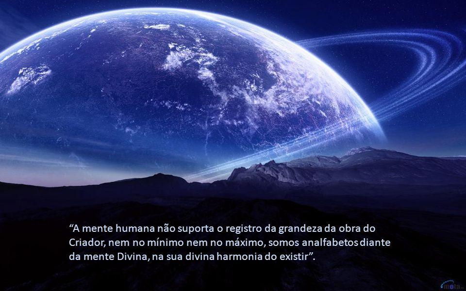 A mente humana não suporta o registro da grandeza da obra do Criador, nem no mínimo nem no máximo, somos analfabetos diante da mente Divina, na sua divina harmonia do existir .