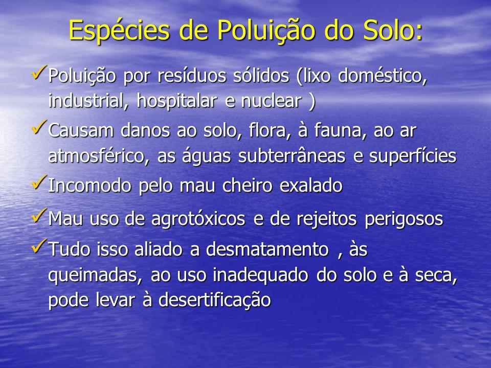 Espécies de Poluição do Solo: