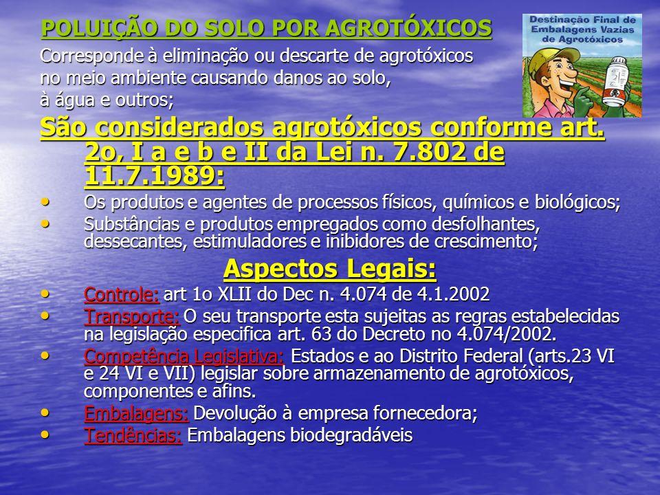 POLUIÇÃO DO SOLO POR AGROTÓXICOS