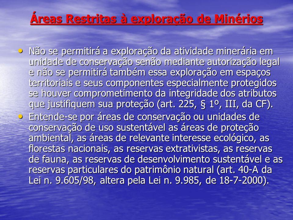 Áreas Restritas à exploração de Minérios
