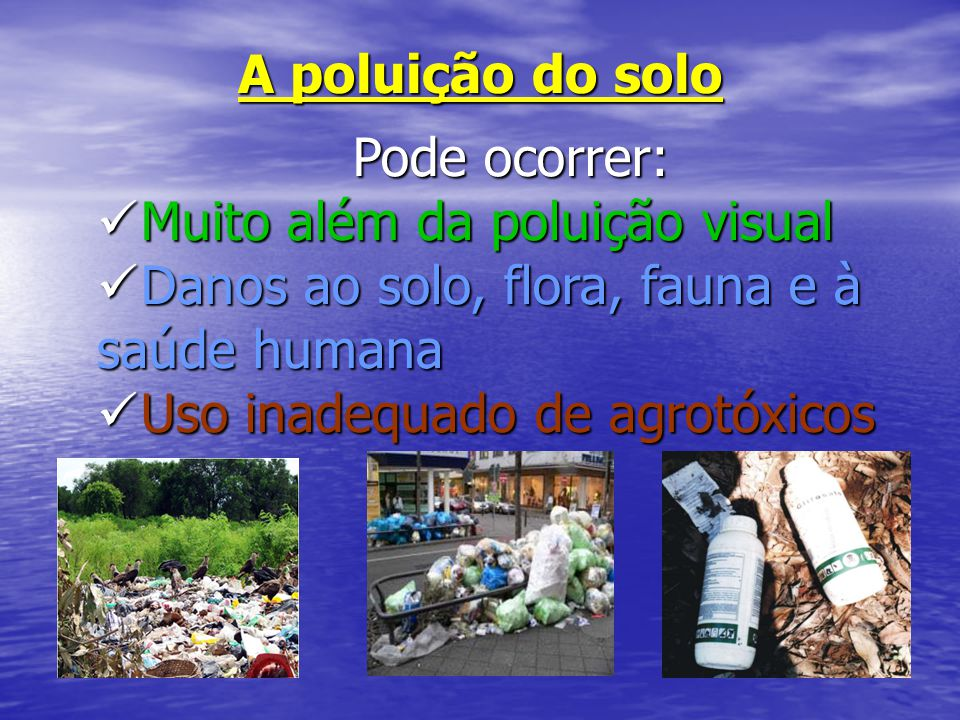 A poluição do solo Pode ocorrer: Muito além da poluição visual. Danos ao solo, flora, fauna e à saúde humana.