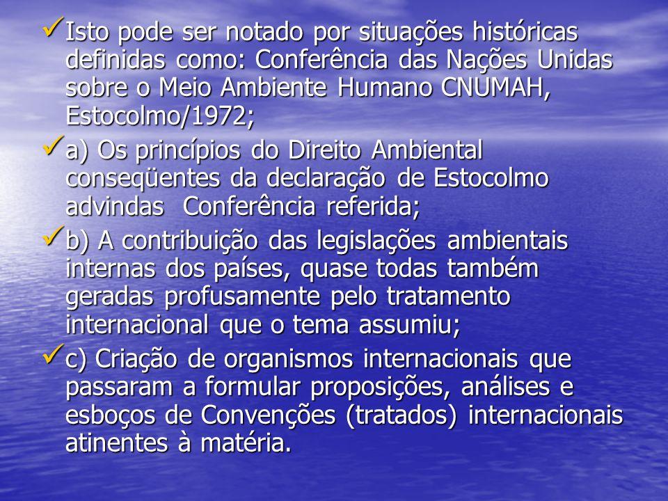 Isto pode ser notado por situações históricas definidas como: Conferência das Nações Unidas sobre o Meio Ambiente Humano CNUMAH, Estocolmo/1972;