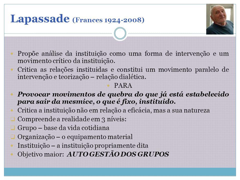 Lapassade (Frances 1924-2008) Propõe análise da instituição como uma forma de intervenção e um movimento crítico da instituição.