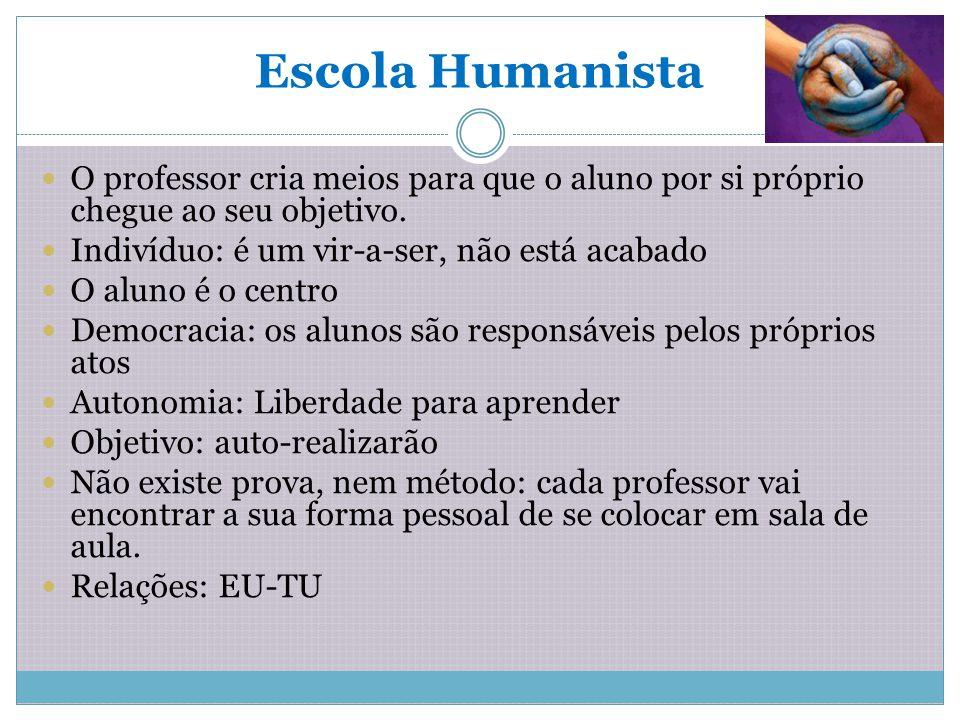 Escola Humanista O professor cria meios para que o aluno por si próprio chegue ao seu objetivo. Indivíduo: é um vir-a-ser, não está acabado.