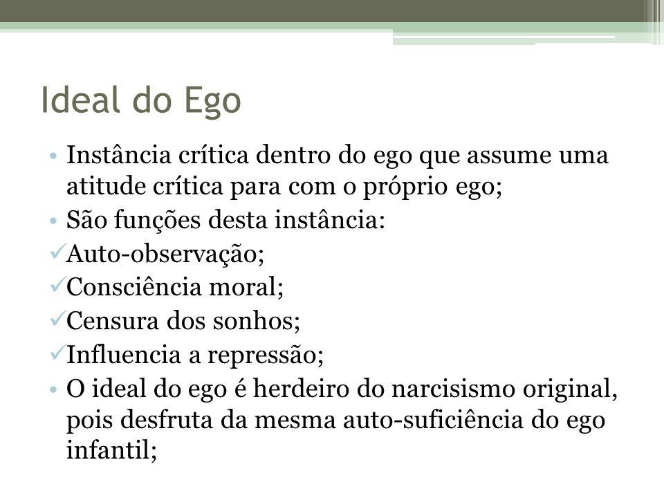 Ideal do Ego Instância crítica dentro do ego que assume uma atitude crítica para com o próprio ego;