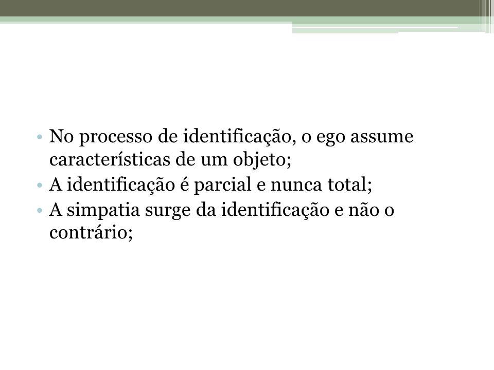 No processo de identificação, o ego assume características de um objeto;