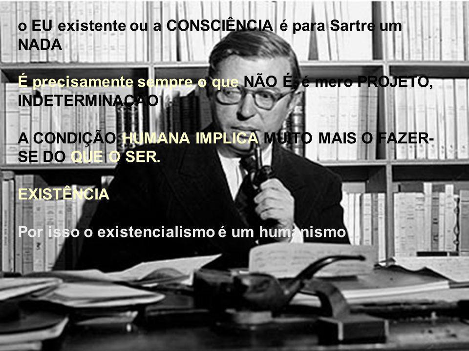 o EU existente ou a CONSCIÊNCIA é para Sartre um NADA