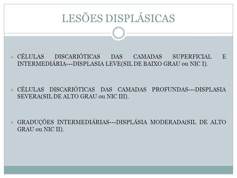 LESÕES DISPLÁSICAS CÉLULAS DISCARIÓTICAS DAS CAMADAS SUPERFICIAL E INTERMEDIÁRIA---DISPLASIA LEVE(SIL DE BAIXO GRAU ou NIC I).
