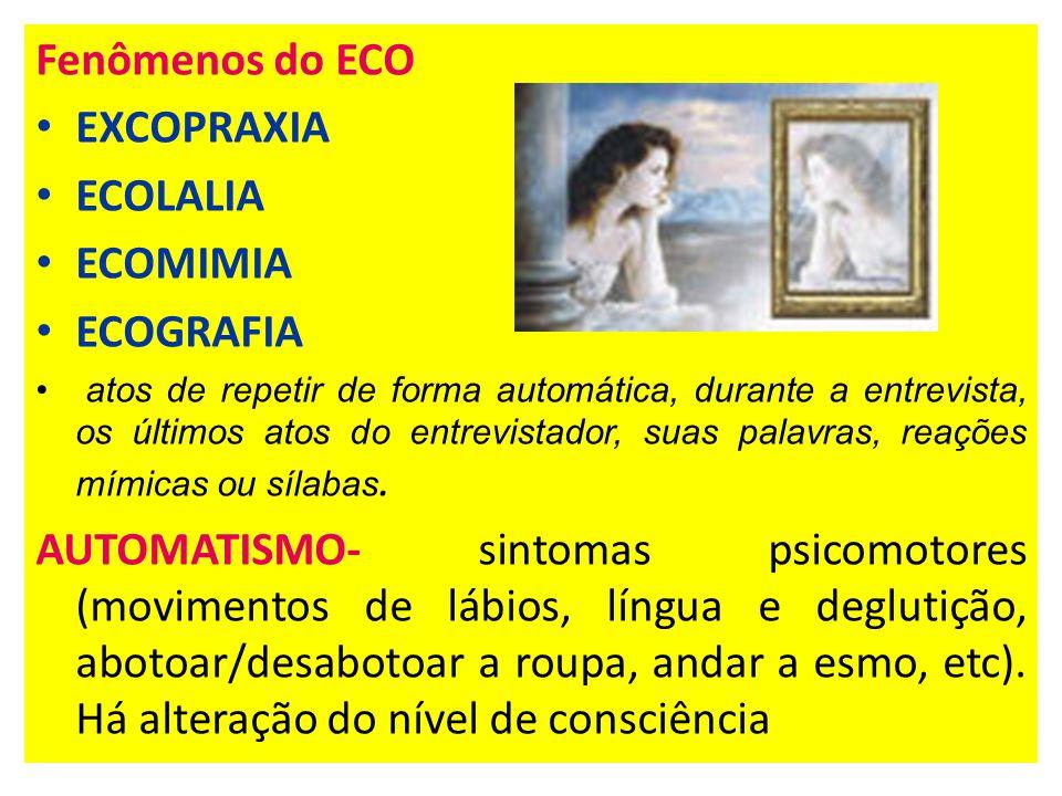 Fenômenos do ECO EXCOPRAXIA ECOLALIA ECOMIMIA ECOGRAFIA