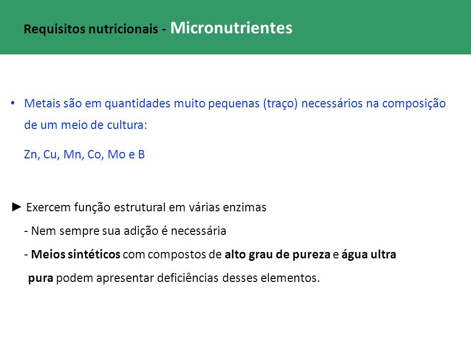 Requisitos nutricionais - Micronutrientes