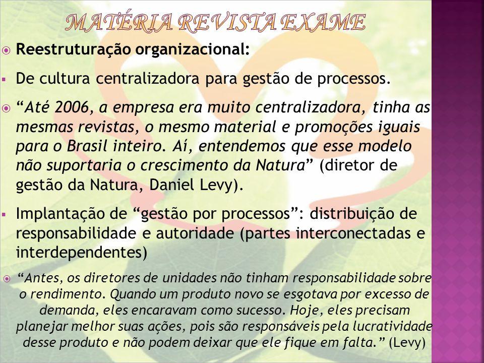 Matéria revista exame Reestruturação organizacional: