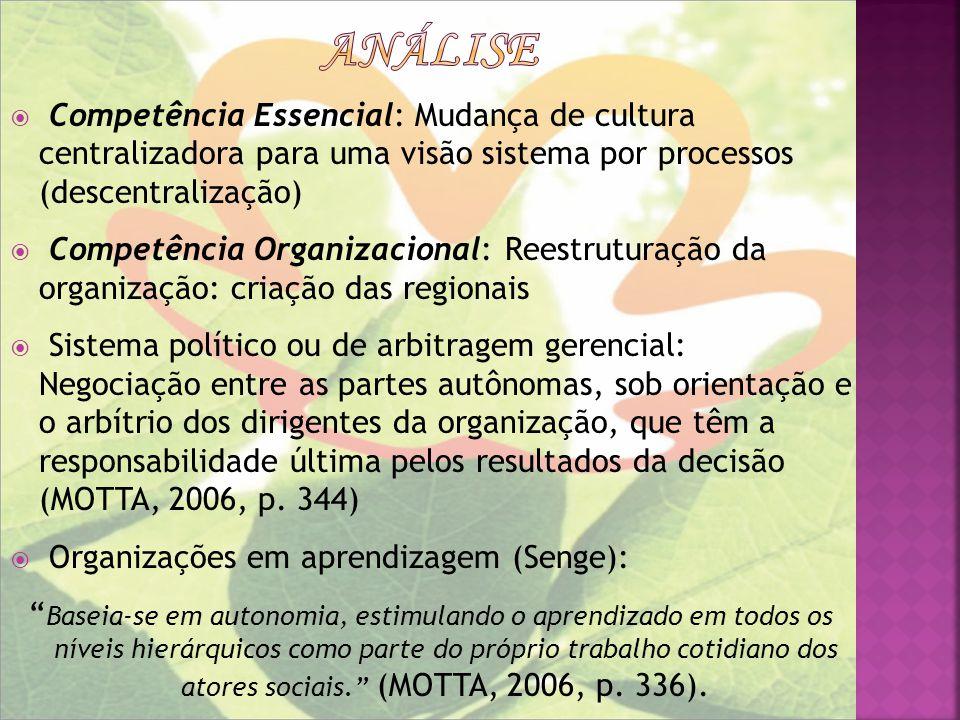 análise Competência Essencial: Mudança de cultura centralizadora para uma visão sistema por processos (descentralização)