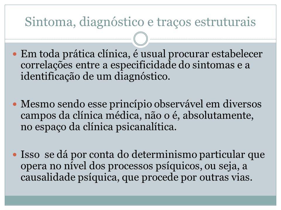 Sintoma, diagnóstico e traços estruturais