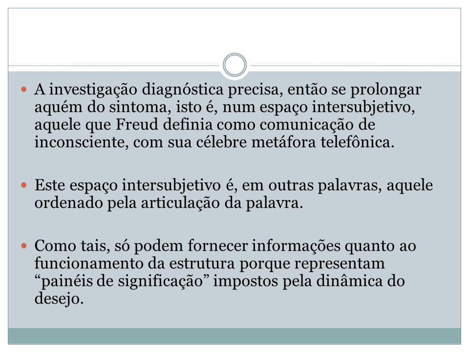 A investigação diagnóstica precisa, então se prolongar aquém do sintoma, isto é, num espaço intersubjetivo, aquele que Freud definia como comunicação de inconsciente, com sua célebre metáfora telefônica.