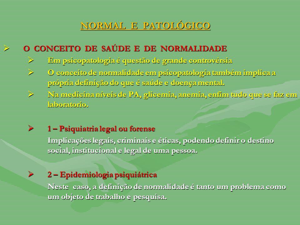NORMAL E PATOLÓGICO O CONCEITO DE SAÚDE E DE NORMALIDADE