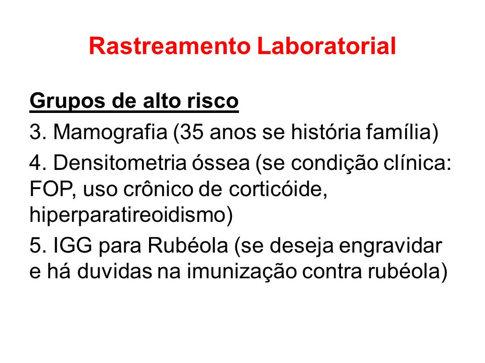 Rastreamento Laboratorial